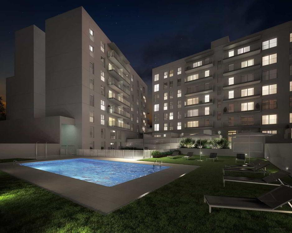 pisos obra nueva sabadell centro vista nocturna