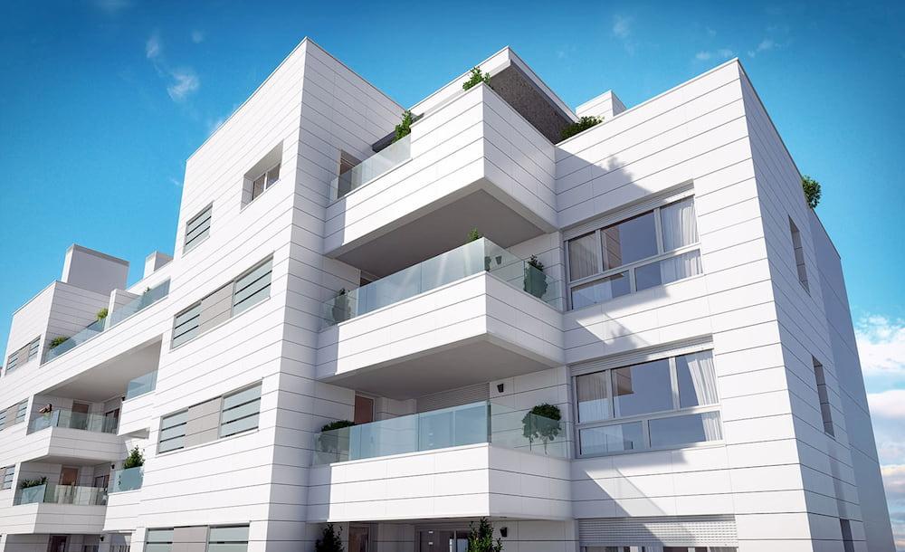 Fachada de nuestra promoción de viviendas en Valdebebas